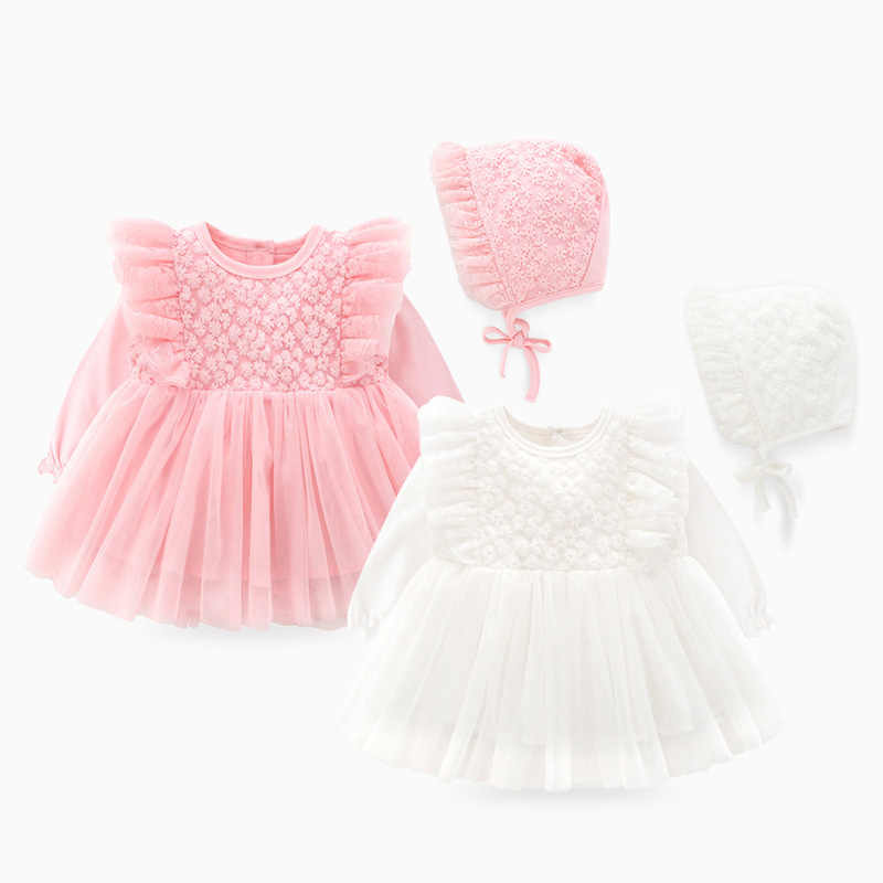 Infant Floral Embroidery Christening Lace Gown New Born Baby Baptism Dress Tutu