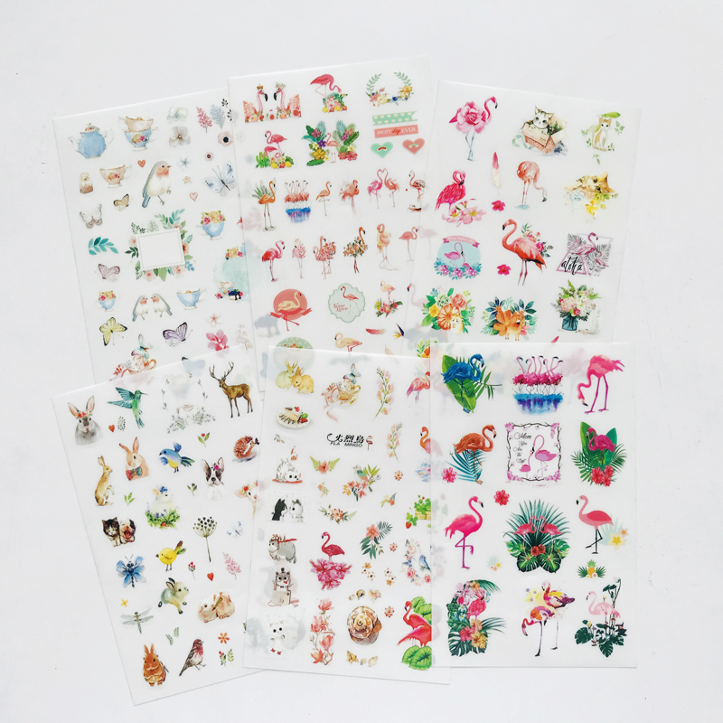 6 Sheets/Pack Cute Flamingo Forest Animals Sticker Album Scrapbooking DIY Decor Stick Label Stationery Kids Gift