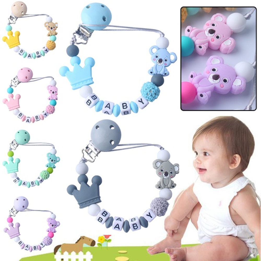 Silicone Pacifier Chains Safe Teething Chain Baby Teether Chew Eco-friendly Pacifier Clips Holder Chain
