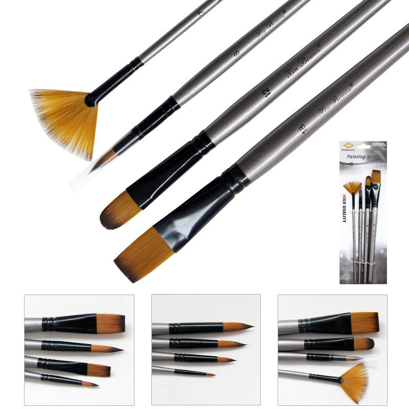 4 Pcs/lot Different Shape Watercolor Paint Brush Nylon Hair Wooden Handle Drawing Tool For Kids School Acrylic Painting Supplies