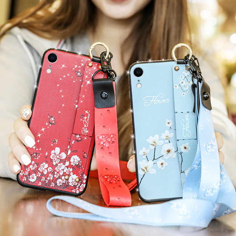 Wrist Strap Soft TPU Case For iphone XR Cover on the X R A1984 A2105 A2016 A2017 <font><b>A2018</b></font> Vintage Flower Pattern Phone Holder Cases image