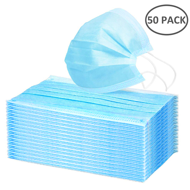 50/100Pcs Three-layer Protection Non Woven Disposable Dust Face Mouth Masks  Anti-Dust Earhook Mask Flu 1