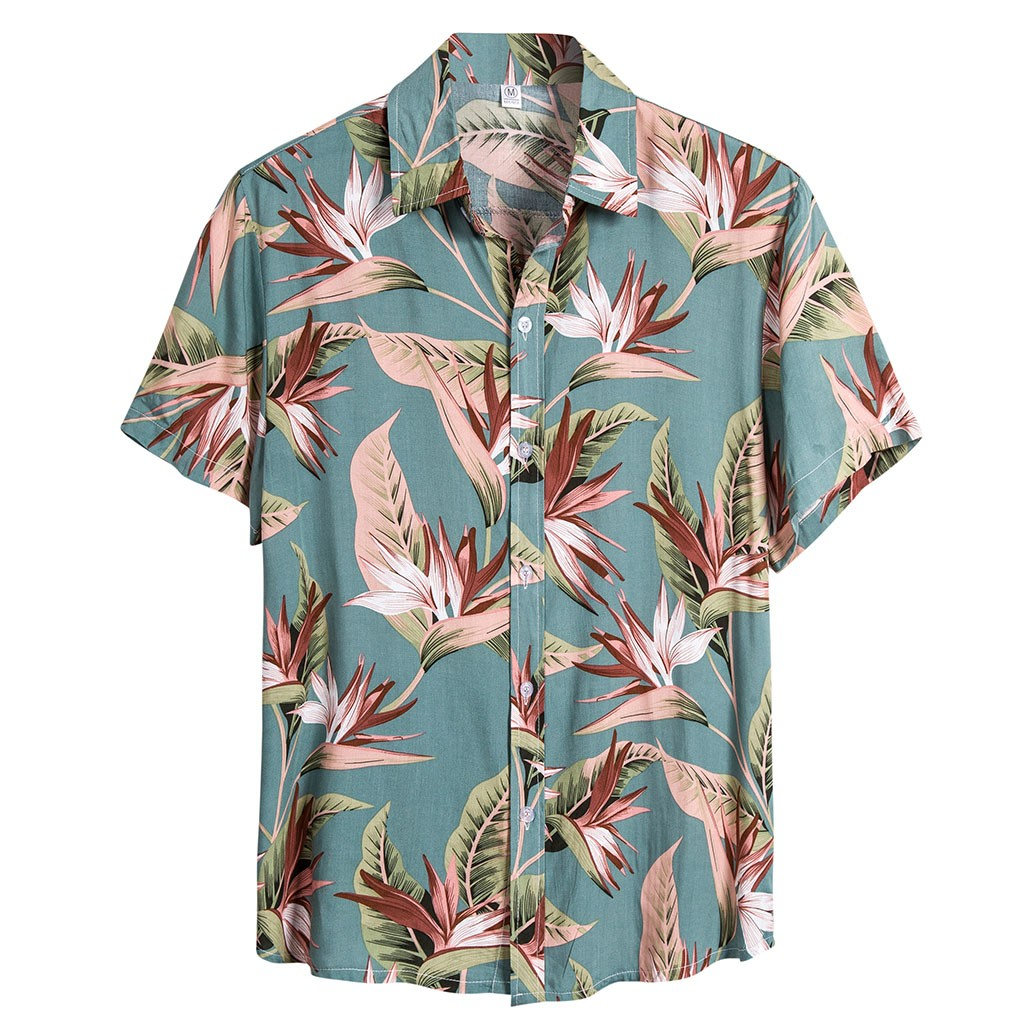 2020 Ethnic Style Printed Shirt Men Lapel High Street Button Vintage Camisa Short Sleeve Mens Brand Hawaiian Shirts 3.12