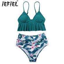 Maternity Swimwear Two Piece Bikini Set V Neck Ruffle Pregnancy Monokini Swimsuit Pregnant Woman Bathing Suit Tankinis Beachwear