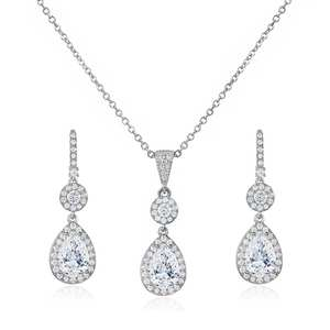 WEIMANJINGDIAN New Arrival Exquisite Large Teardrop Cubic Zirconia CZ Crystal Necklace and Earring Set Bridal Banquet Jewelry