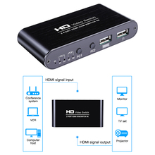 2Port HDMI Kvm Switch 4Kx2K Ultra Hd Switcher For Dual Display Screen Keyboard Mouse Free Interface Switching Adaptive EDID HDCP