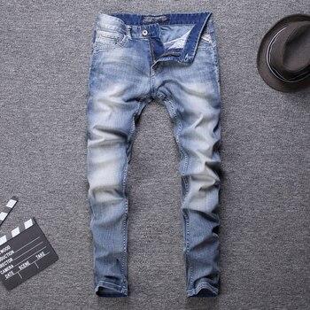 2020 Designer New Style Designer Men Jeans Fashion Streetwear Light Blue Color Slim Fit Buttons Classical Jeans Men Pants fashion designer men jeans blue 100