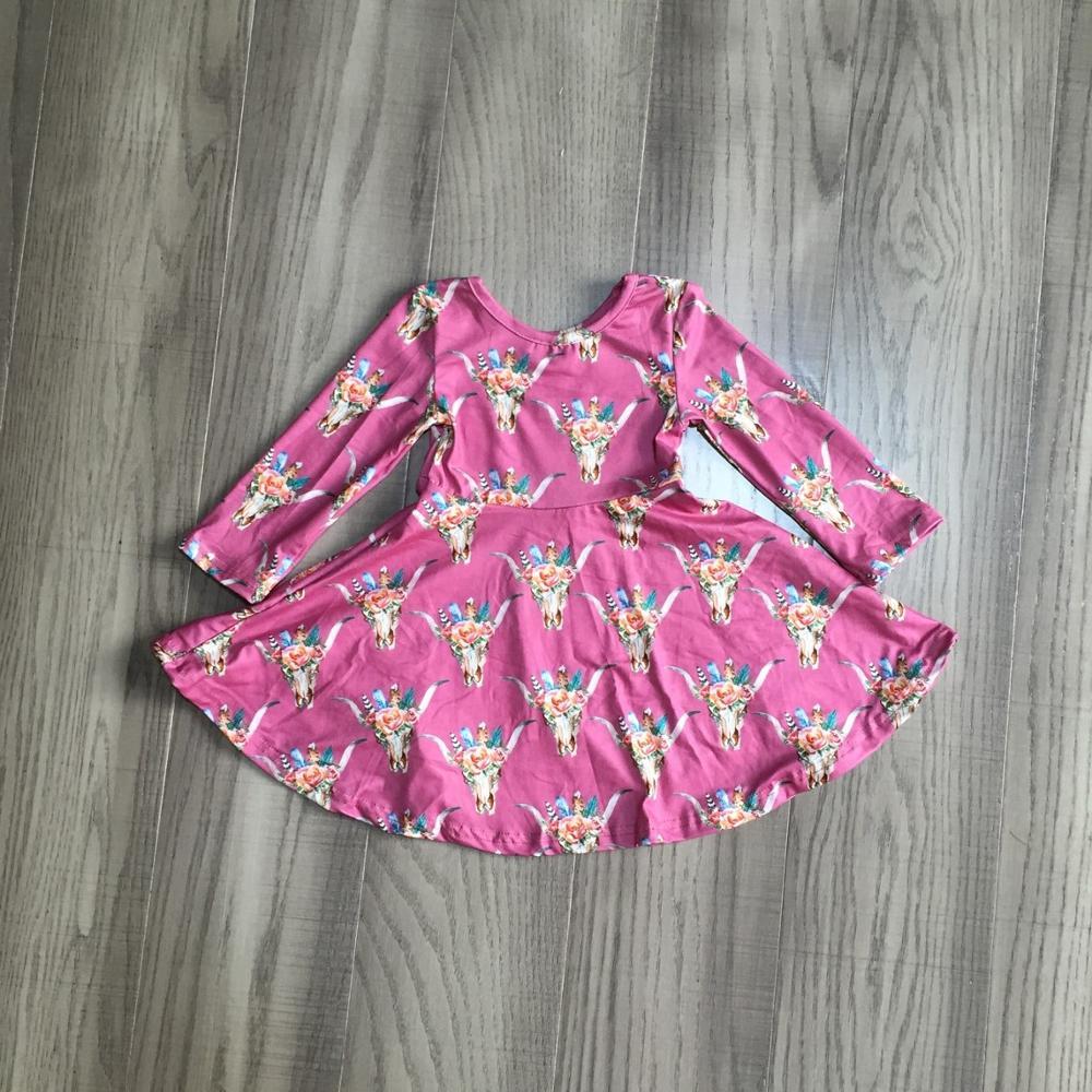 special offer Girlymax fall/winter baby girls cotton chlidren clothes milk silk twirl dress floral fox cow leopard knee length 2