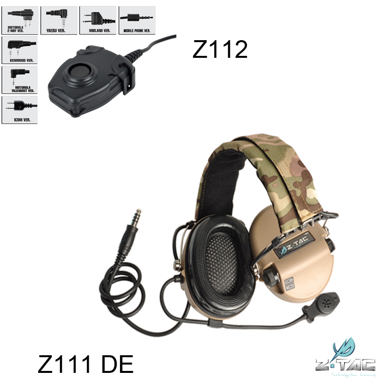 Z-TAC Hunting Noise Reduction Headset Z111 DE And Tactical Walkie Ttalkie PTT Z112 Combination