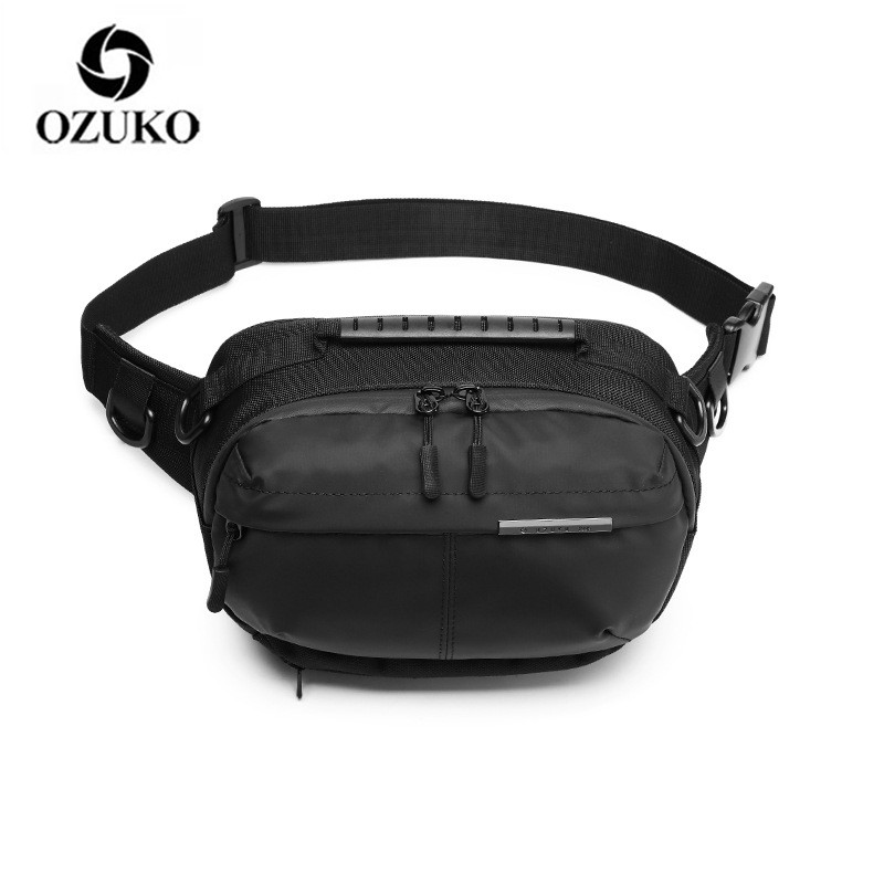OZUKO Waist Bag Waterproof Men Fashion Chest Pack Male Outdoor Sports Crossbody Bag Short Travel Belt Fanny Pack Anti-theft Bag
