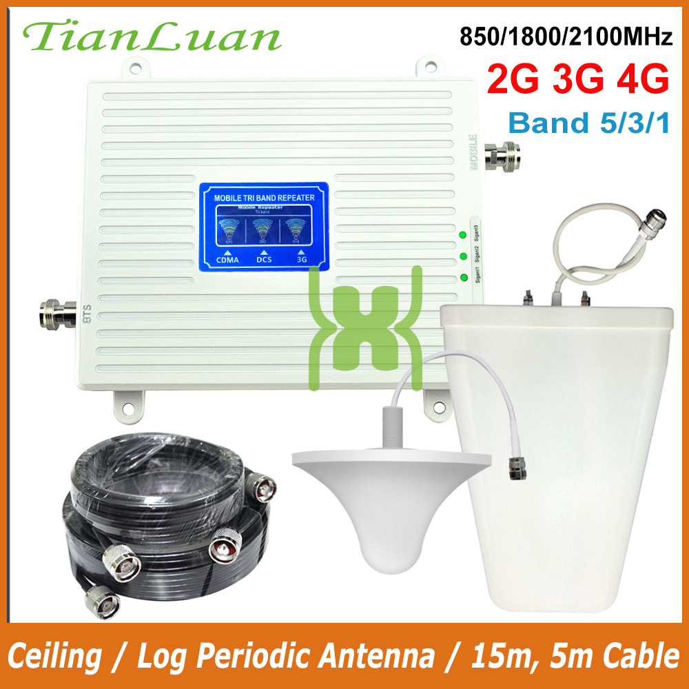 TianLuan 2G 3G 4G Tri Band Cell Phone Signal Booster CDMA 850 LTE 1800 WCDMA 2100 MHz Mobile Phone Signal Repeater With Antenna