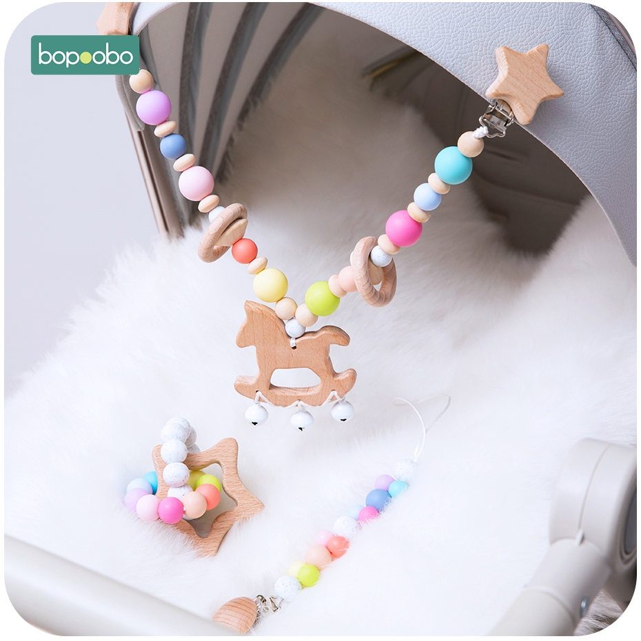 Wooden Clip Pacifier-Chain Rattle Baby Toy Silicone Bead Personalize Chewable