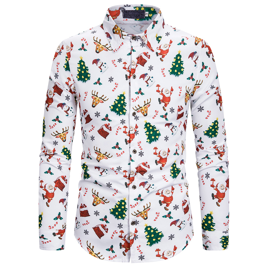Men Christmas Snowman Print Shirt Tops Hawaiian Classic Male Casual Slim Fit Long Sleeve Lapel Fashion Shirts Blouse Clothing