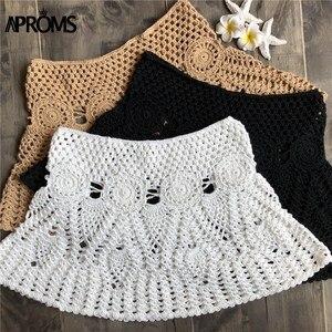 Image 5 - Aproms Mini jupes Crochet en coton tricoté à la main, couleur bonbon, taille haute, jupe de plage, sous vêtements, été, 2020