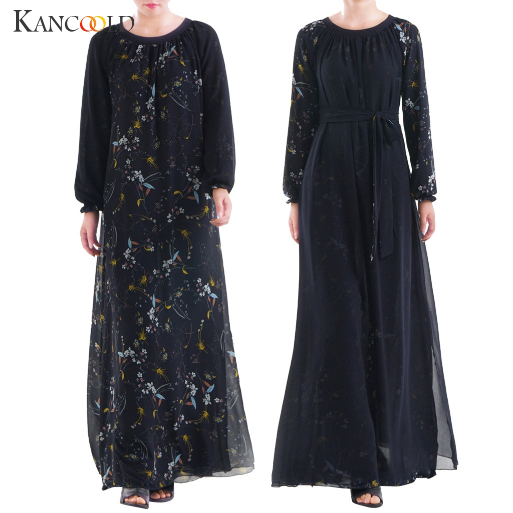 KANCOOLD Abaya 2019 Muslim Dress Gray Beading Abaya Long Muslim Women Wear Both Sides Dubai Abaya Maxi Dresses Islamic Clothing