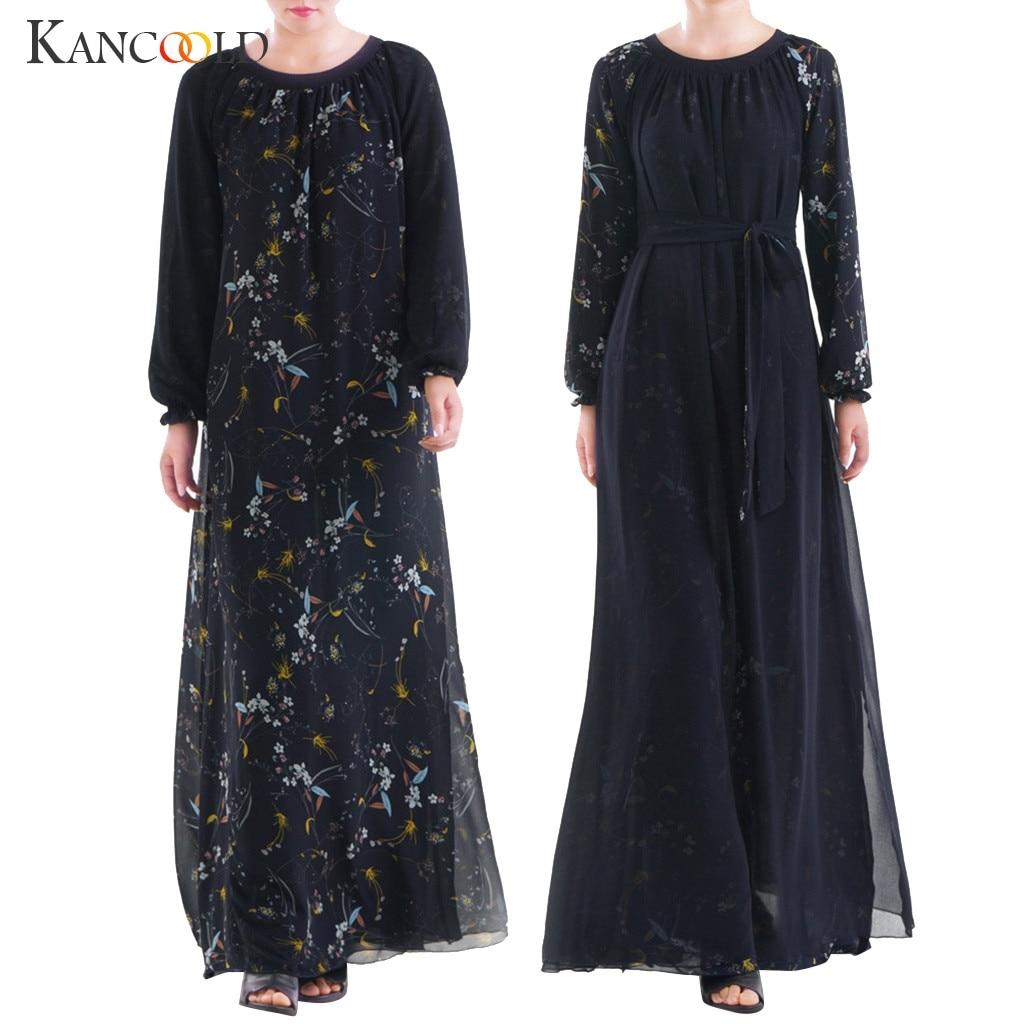 KANCOOLD Abaya 2019 Muslim Dress Gray Beading Abaya Long Muslim Women Wear Both Sides Dubai Abaya Maxi Dresses Islamic Clothing