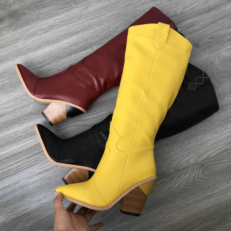 Marka Burgund siyah sarı kovboy çizmeleri kadınlar için diz yüksek çizmeler kış kama topuklu çizmeler batı Cowgirl uzun çizmeler kadın 2019
