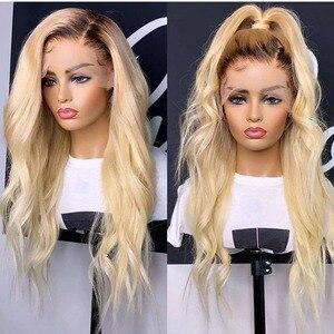 Европейский эффектом деграде (переход от темного к блондинка Грейс волна Синтетические волосы на кружеве человеческих волос парики с детск...