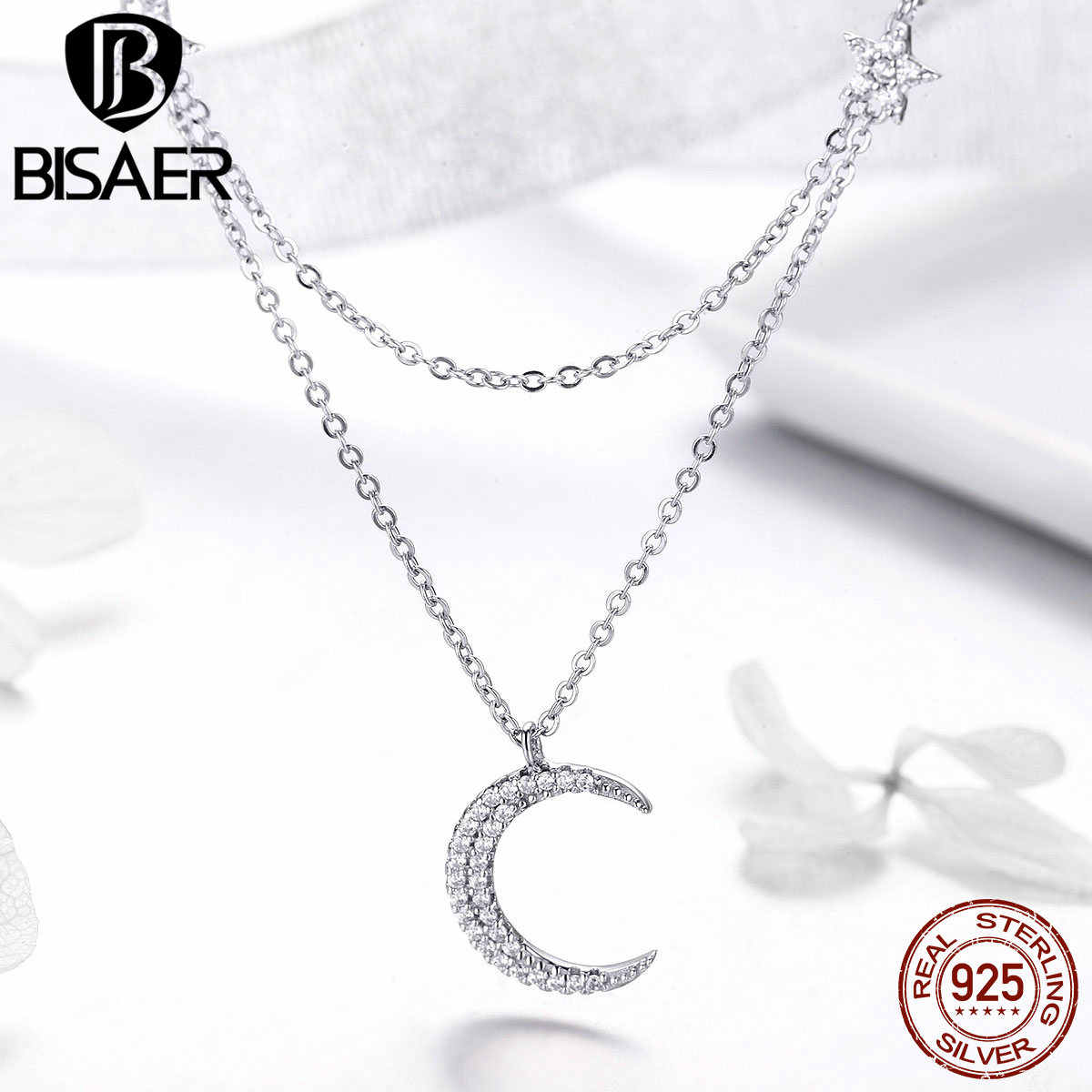 BISAER Double Layers 925 Sterling Silver Moon Star Pendant Necklace for Women Elegant Korean Choker Necklaces Jewelry GAN038