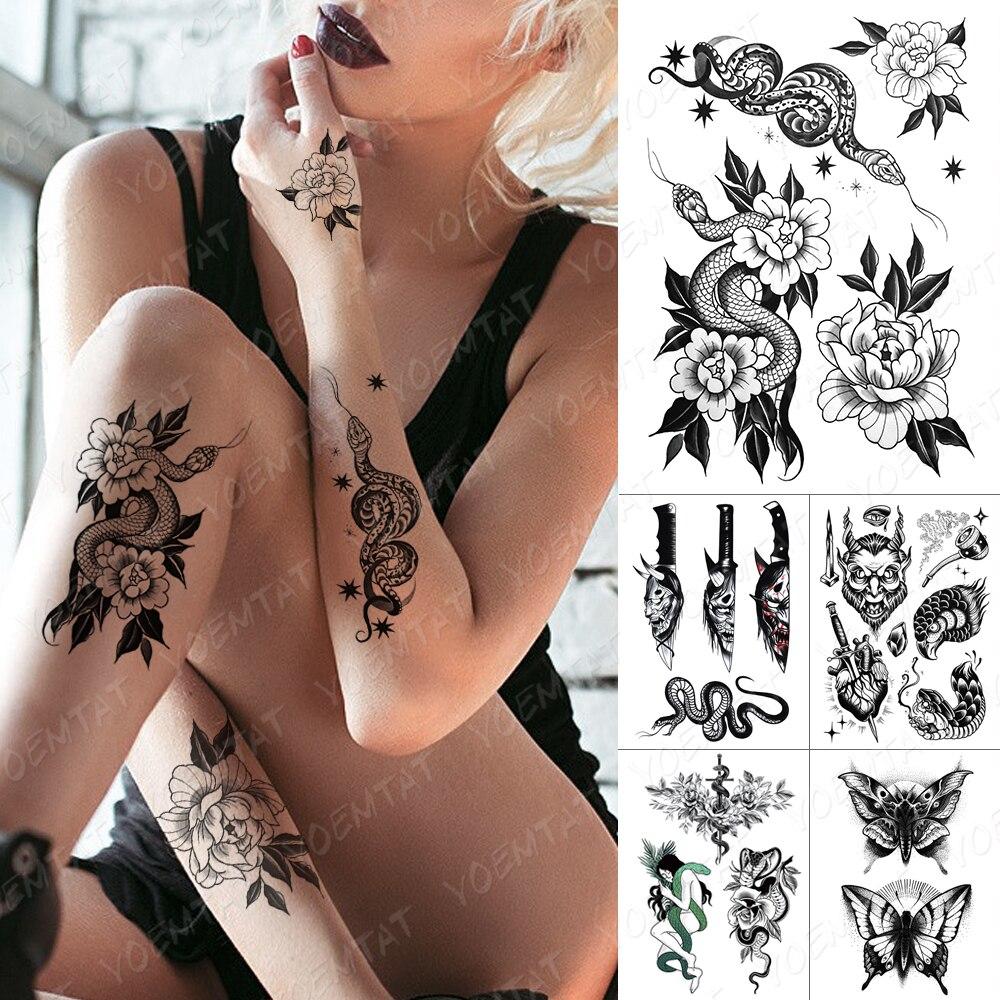 Waterproof Temporary Tattoo Sticker Moth Eagle Old School Flash Tattoos Black Snake Rose Stars Body Art Arm Fake Tatoo Women Men