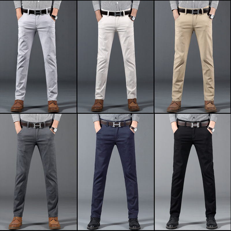 Classic 6 Color Casual Pants Men Spring Autumn New Business Fashion Comfortable Stretch Cotton Elastic Straigh Jeans Trousers 6