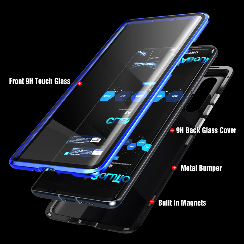 Luxury Full Body Protective Magnetic Case For Huawei P30 Pro P20 Mate 20 Pro 360 Tempered Glass Back Cover Huawei P30Pro Case On in Fitted Cases from Cellphones Telecommunications