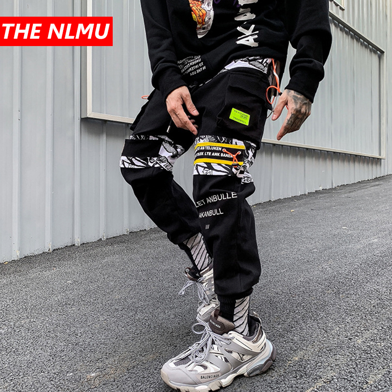 Black Patchwork Cargo Harem Pants Mens Casual Jogger Streetwear Hip Hop 2019 Trousers Male Elastic Waist Joggers WG538