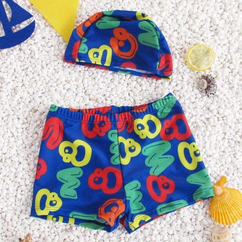 BOY'S Big Kid Small Children Parent And Child Swimsuit Children AussieBum Swimming Cap Boy Large Size