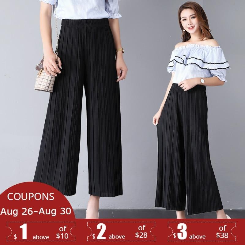SNOW PINNACLE 2018 New Summer womens   Wide     leg     pants   Chiffon Thin Pleasted Printed Floral high waist trourses plus size XL-4XL