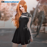 OKInternationa Black Mini Dress Gothic Streetwear Meah Hollow Out Sexy Female Vintage Dress Patchwork Casual Short Sleeve Dress