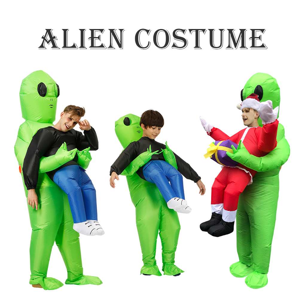 New Purim Scary Green Alien Inflatable Costume Cosplay Mascot Inflatable Monster Suit Party  Halloween Costumes For Kids Adult