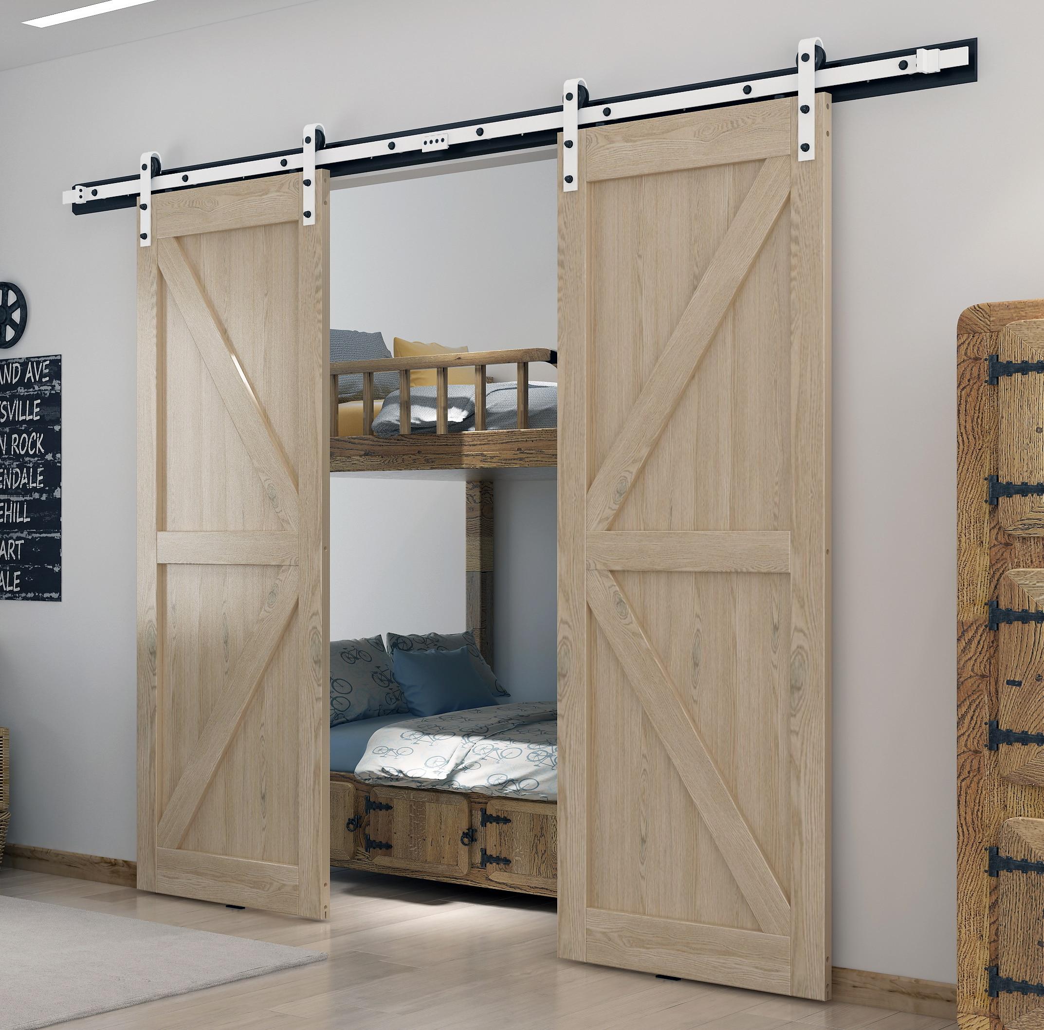 DIYHD White Coated Double Sliding Barn Door Hardware Heavy Duty Interior Wood Door Sliding Track