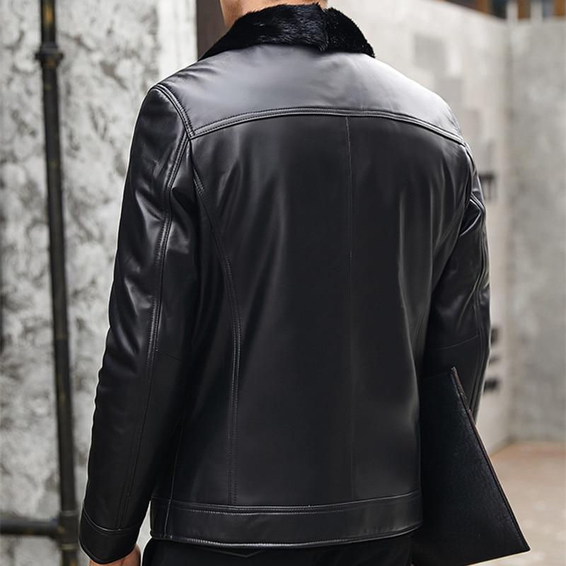 Genuine Leather Men Winter Jacket Natural Liner Sheepskin Mens Jackets Plus Size Mink Fur Coat YN1262 YY620