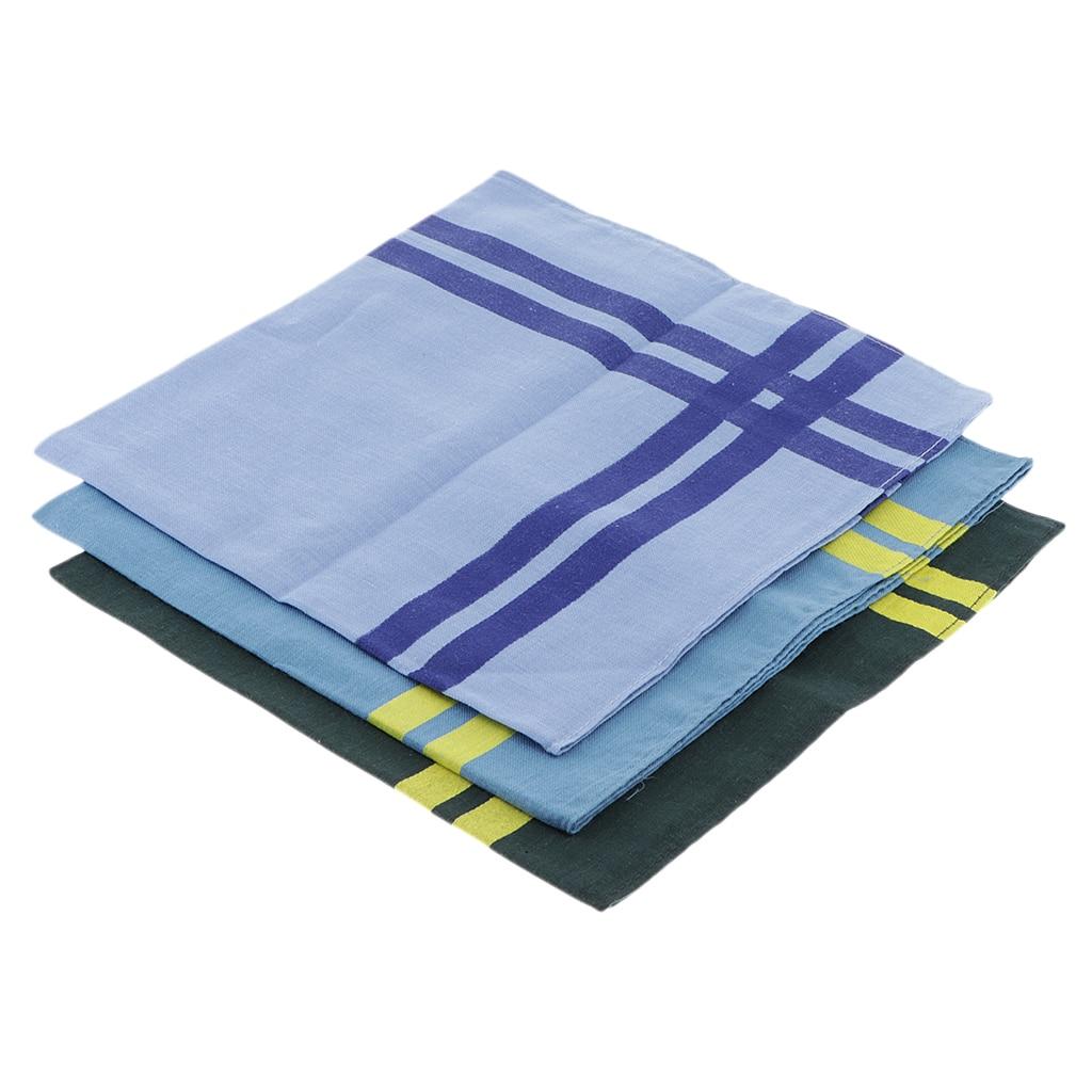 3pcs Mens Plaid Handkerchief Cotton Official Costumes Square Decorative Grid Hanky