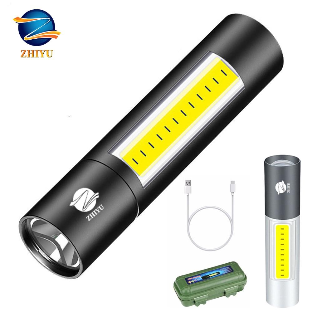 ZHIYU USB Rechargable Mini LED Flashlight 3 Lighting Modes Waterproof Torch Telescopic Zoom Stylish Portable Suit Night Lighting