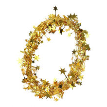 Christmas Tree Hanging Star Pine Tinsel Stars Rattan Garland Christmas Decoration Ornament Christmas Color Stars Rattan 7.5m 7P(China)
