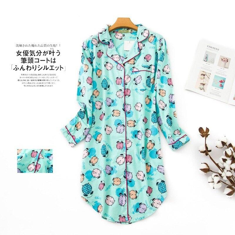 Women's Plus Size Nightdress 100% Brushed Cotton Nightgown Flannel Boyfriend Nightshirt Autumn Winter Print Cartoon Sleepwear