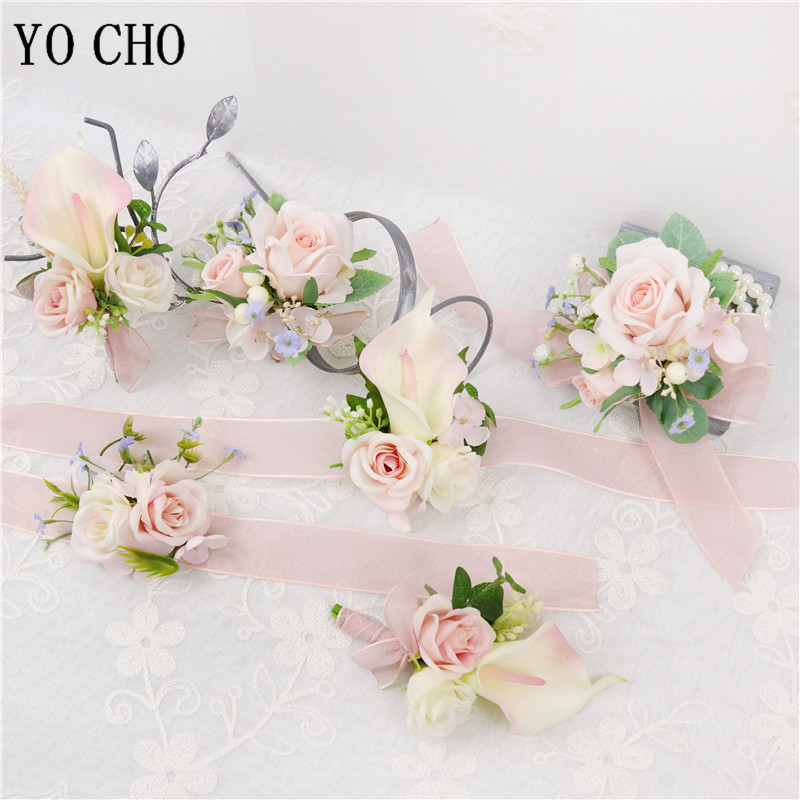 YO CHO Boutonniere Bridal Wrist Corsage Wedding Silk Rose Calla Lily Flower Pink Girl Newest Design Handmade Wedding Boutonniere