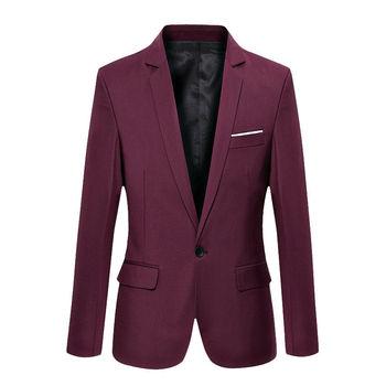 Hot Sale New Arrival Fashion Blazer Mens Casual Jacket Solid Color Cotton Men Blazer Jacket Men Classic Mens Suit Jackets Coats