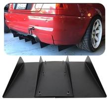 Difusor de parachoques trasero 4 inferior de coche ABS Tubarão Universal Kit de accesorios de decoración aletas de coche negro 22