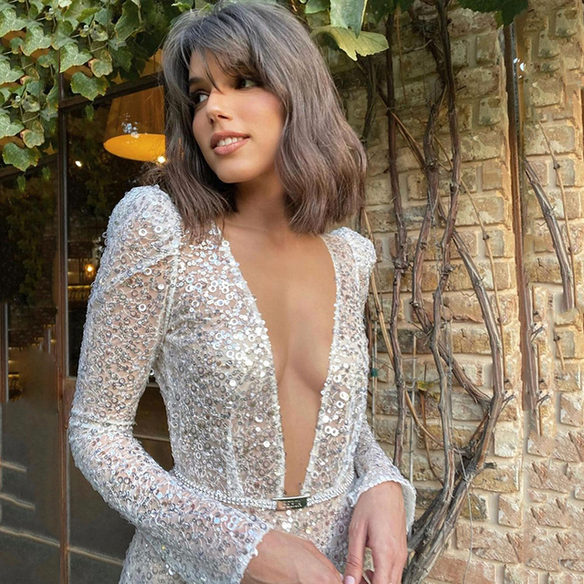 UZN Gorgeous Silver V-Neck Long Sleeves Sequined Prom Dress New Arrival Sexy A-Line Sequins Open Back Evening Dress Plus Size 3