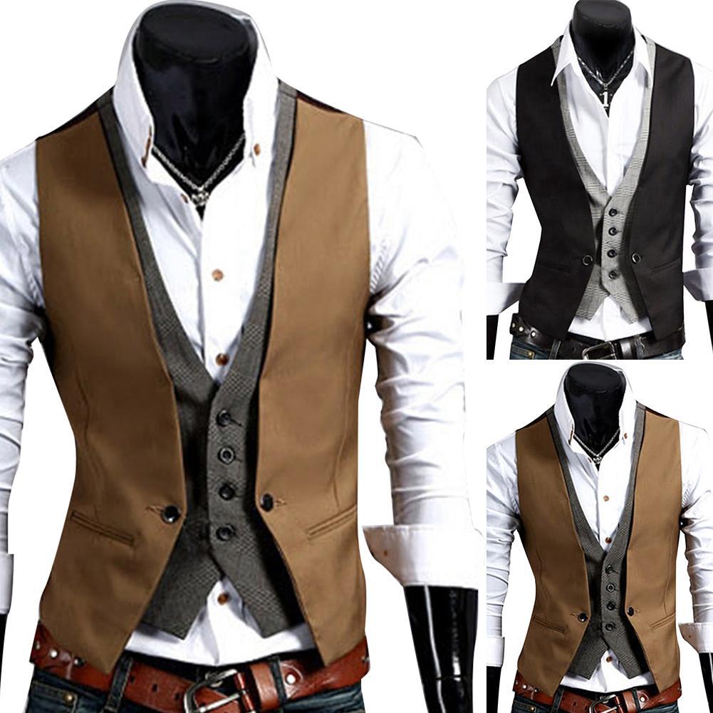 New Men Formal Waistcoat Vest Business Solid Color Single Button Vest Gilet Fake Two-pieces V Neck Casual Slim Vest