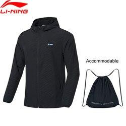 Li-Ning-Cazadora de bádminton para hombre, transpirable, 91.1% poliéster, 8.9% licra, forro li, abrigo deportivo AFDP483 MWF405
