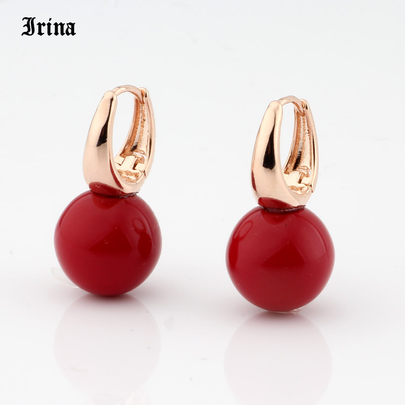 Irina New Arrivals 585 Rose Gold Color Round Pearls Dangle Earrings Women Cute Girls Party Simple Noble Long Jewelry Earing 2