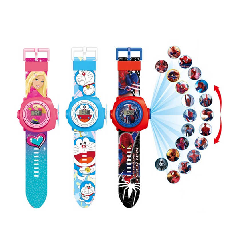 Priencess Spiderman Kids Horloges Projectie Cartoon Patroon Digitale Kinderen Horloge Voor Jongens Meisjes Led Display Klok Relogio