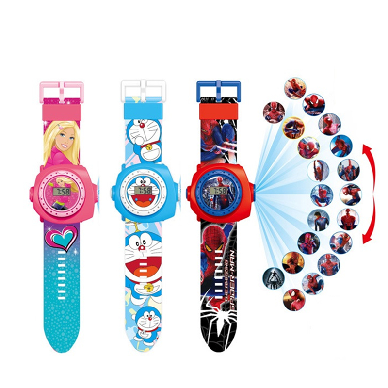 Priencess Spiderman Kids Watches Projection Cartoon Pattern Digital Children Watch For Boys Girls Led Display Clock Relogio