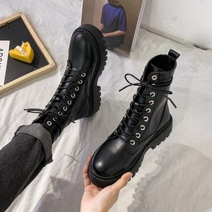 2020 Women Autumn Winter White Black PU Leather Suede Boots Round Toe Lace Up Shoes Woman Fashion Motorcycle Platform Botas