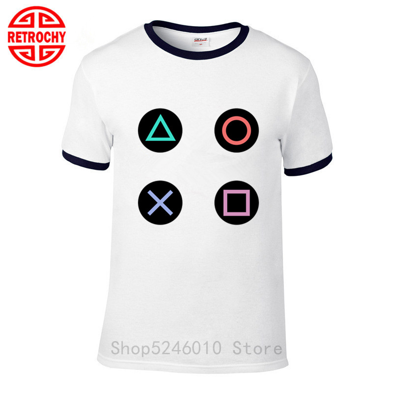 New Funny Playstation Controller Buttons Custom Mens White T-Shirt Size S to 3XL