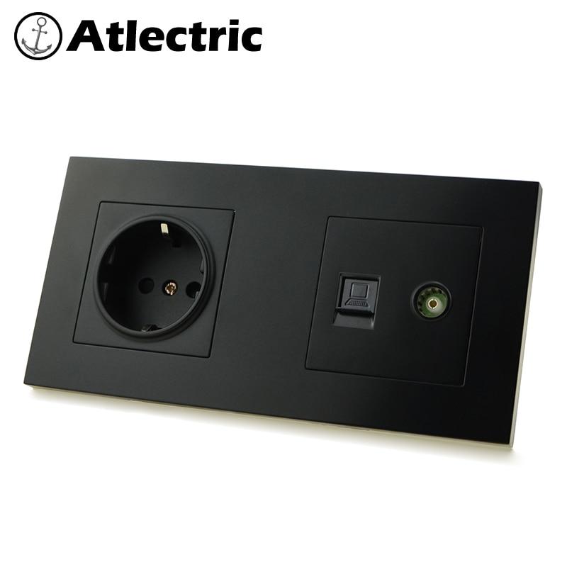 Atlectric EU Standard Plug Wall Socket RJ45 Socket Computer Data Port Socket Dual RJ45 With TV Outlet Plastic Panel