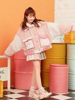 Princess sweet lolita coat Japanese sweet girl loose asymmetric big pocket Lamb Fur pink warm fur coat fashion female VC290